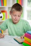 Lecture et étude mignonnes d'écolier Photographie stock libre de droits