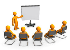Lecture Flipchart. Orange cartoon characters sit in on a lecture Royalty Free Stock Photography
