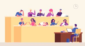 Lecture hall. Students lecturer in lecture room learning young people studying in auditorium. Business coaching seminar. Vector concept. Illustration of vector illustration