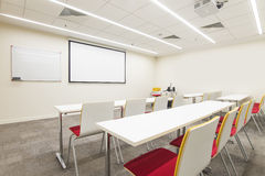 Lecture hall. With TV projector Stock Photos