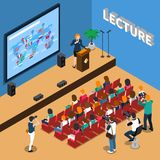 Lecture Isometric Composition. With orator near tribune, people in auditorium, screen and loudspeakers, photo reporters vector illustration Stock Photo