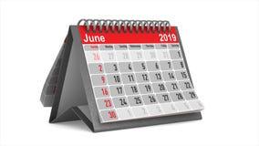 Lecture rapide du calendrier de bureau sur le fond blanc 3d d'isolement rendent 2019 ans illustration libre de droits