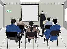 Lecture. Silhouette drawing of a group of students, inside a classroom, attending a lecture Royalty Free Stock Images