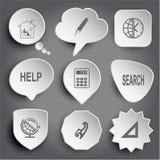 Lecture, stylo de feutre, globe et horloge à la maison, aide, calculatrice, searc Photo libre de droits