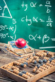 Lecture of trigonometry in school. Retro style Stock Photos