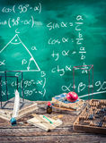 Lecture of trigonometry in school. Lecture of trigonometry in vintage school Stock Photo
