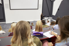 Lecture at university lecture theatre, audience POV, closer Royalty Free Stock Image