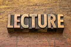Lecture word in wood type royalty free stock photos
