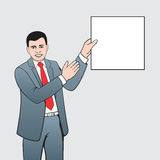 Lecturer. Man holds in his hand flyer and pointed on it Stock Photography