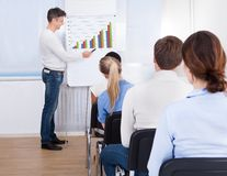 Lecturer with flipchart in class Royalty Free Stock Image