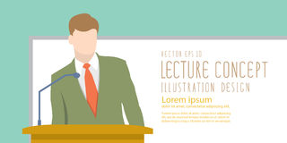 Lecturer giving lecture or presentation. Standing in front of wh Royalty Free Stock Image