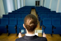 Lecturer in hall royalty free stock images