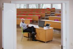 Lecturer waiting for students in an auditorium.  stock photos