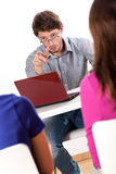 Lecturer warning students Stock Image