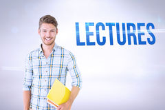 Lectures against grey background Stock Images