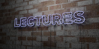 LECTURES - Glowing Neon Sign on stonework wall - 3D rendered royalty free stock illustration. Can be used for online banner ads and direct mailers Stock Image