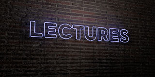 LECTURES -Realistic Neon Sign on Brick Wall background - 3D rendered royalty free stock image. Can be used for online banner ads and direct mailers Stock Image