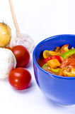 Leczo. Is an originally Hungarian thick vegetable stew which features peppers and tomato, onion, lard, salt, sugar and ground paprika  as a base recipe Stock Photo