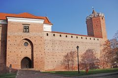 Leczyca/��czyca castle. Leczyca romanesque medieval castle with an oktagonal tower, Poland Royalty Free Stock Images
