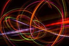 从LED光的被弄脏的抽象线 库存照片