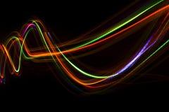 从LED光的被弄脏的抽象线 免版税库存照片