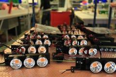 LED光装配在制造业中 免版税库存照片