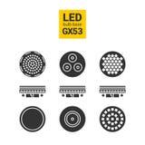 LED光GX53电灯泡剪影象集合 免版税库存照片