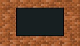 Led在砖墙上的电视机的例证 皇族释放例证