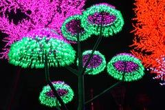 LED在蘑菇形状的树装饰 免版税库存照片