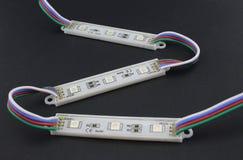 LED小条,黑背景 免版税库存图片