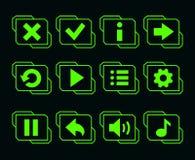 LED比赛的绿色按钮 库存图片