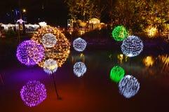 LED点燃在泰国照明节日的树展示2017年 库存照片
