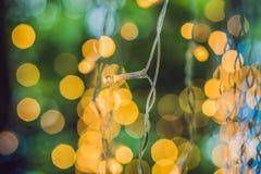 LED点燃诗歌选,在bokeh背景的五颜六色的电灯泡 库存图片