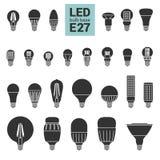 LED点燃E27电灯泡传染媒介剪影象集合 库存照片