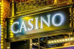 LED照明设备赌博娱乐场标志 免版税库存图片