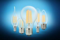 LED细丝电灯泡凉快的白色 图库摄影