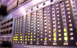 LED. Light-emitting diode on mixer console Royalty Free Stock Photo