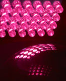 LED. An array of 24 LEDs light up a glass ball royalty free stock photography