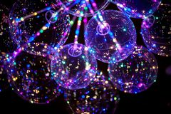 LED balloon with multi-colored luminous garland. stock photo