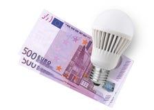 LED-Birne über Emoney Lizenzfreie Stockfotografie