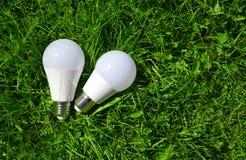 LED-Birnen im Gras Stockbild