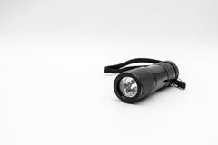 LED black metal flashlight royalty free stock photography