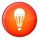 Led bulb icon, flat style. Led bulb icon in red circle isolated on white background vector illustration Stock Image