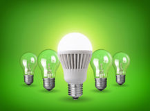 Led bulb. Idea concept with led bulb and tungsten bulbs Stock Photo