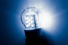 Led bulb light. Closeup view of blue led bulb light Stock Photo