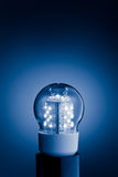 Led bulb light. Blue led bulb light with copy space for any text royalty free stock photography