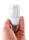 Led bulb in man's hand Royalty Free Stock Photos