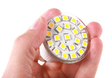 Led bulb in man's hand Stock Image