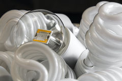 Led bulb among the many CFL lamps Stock Photo
