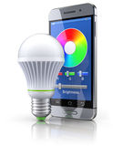 Led bulb with mobile wifi remote control Stock Photography